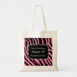 菓子16の黒く、ピンクのシマウマパターン トートバッグ