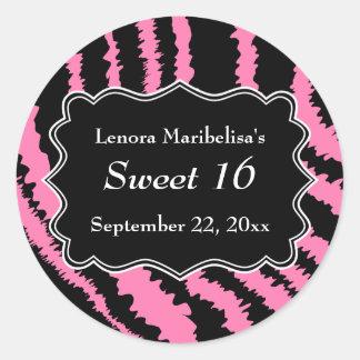 菓子16の黒く、ピンクのシマウマパターン ラウンドシール