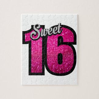 菓子16の16ピンクのグリッターの誕生会の女の子 ジグソーパズル