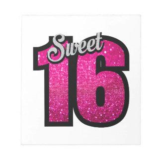 菓子16の16ピンクのグリッターの誕生会の女の子 ノートパッド