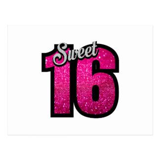 菓子16の16ピンクのグリッターの誕生会の女の子 ポストカード