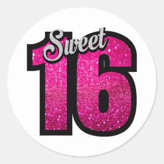 菓子16の16ピンクのグリッターの誕生会の女の子 ラウンドシール