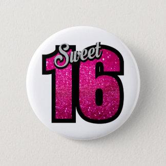 菓子16の16ピンクのグリッターの誕生会の女の子 缶バッジ