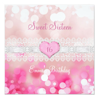菓子16の16ピンクの白いレースの誕生会 カード