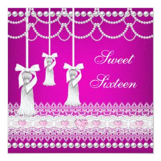 菓子16の16ピンクの白い真珠のレースのダイヤモンド カード
