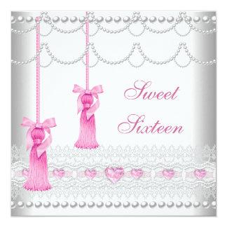 菓子16の16ピンクの真珠のレースのダイヤモンド3 カード