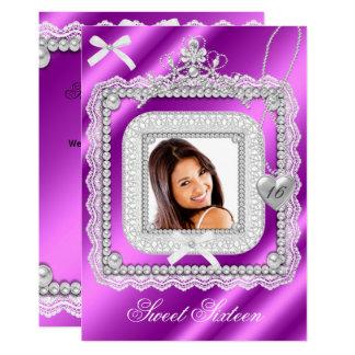 菓子16の16ピンクの紫色のレースの真珠の写真2 カード
