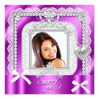 菓子16の16ピンクの紫色のレースの真珠の写真 カード