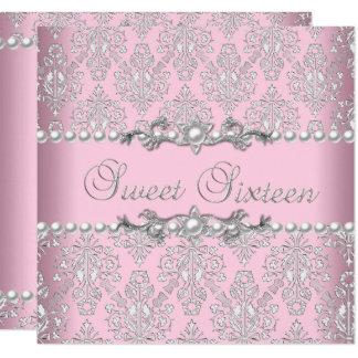 菓子16の16ピンクの銀製の白い真珠のレース カード