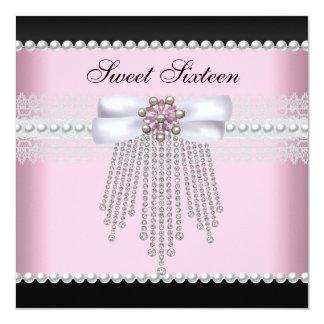 菓子16の16ピンクの黒い真珠のレースのダイヤモンド カード
