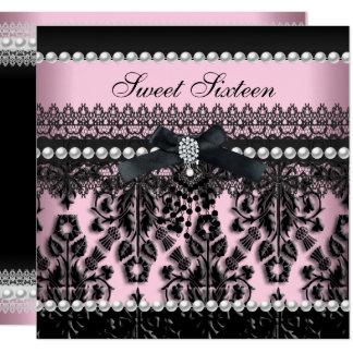菓子16の16ピンクの黒い真珠のレースのダマスク織 カード