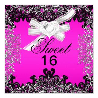 菓子16のSweet sixteenのショッキングピンクの白く黒いレース カード