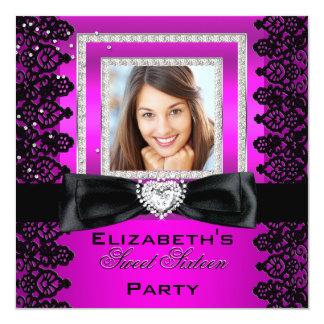 菓子16のSweet sixteenのピンクの黒いレースの写真2 カード