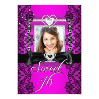菓子16のSweet sixteenのピンクの黒いレースの写真 カード