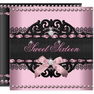 菓子16のSweet sixteenのピンクの黒いレースの弓 カード