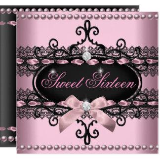 菓子16のSweet sixteenのピンクの黒いレースの真珠 カード