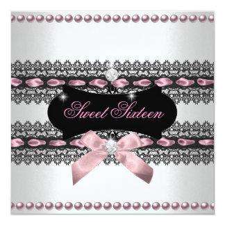 菓子16のSweet sixteenの白いピンクの黒いレースの真珠 カード