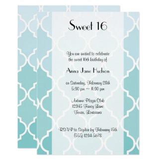 菓子16 -グラデーションなモロッコの格子垣-青い白 12.7 X 17.8 インビテーションカード
