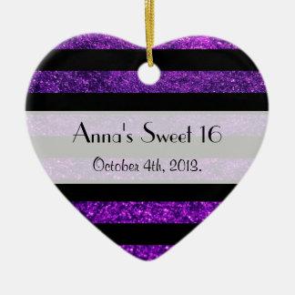 菓子16 -、ライン、グリッター-紫色の黒縞で飾ります セラミックオーナメント