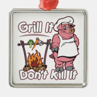 菜食主義のグリルそれはそれを殺しません メタルオーナメント