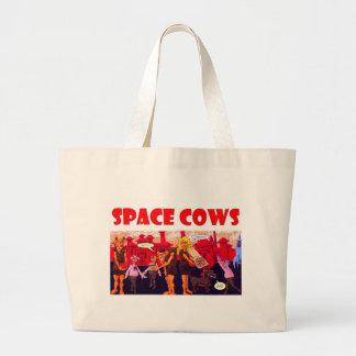 菜食主義のジャイアンツを持つ宇宙牛 ラージトートバッグ