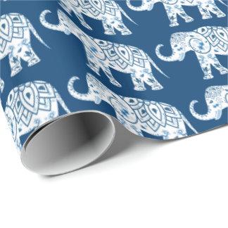 華美でパターン(の模様が)あるで青い象 ラッピングペーパー