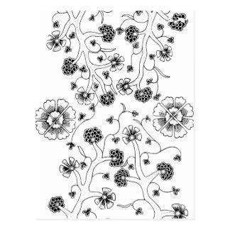 華美で抽象的な花の織物パターン ポストカード