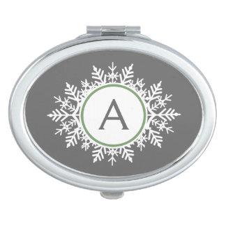 華美で白いセージグリーンの雪片のモノグラムの灰色