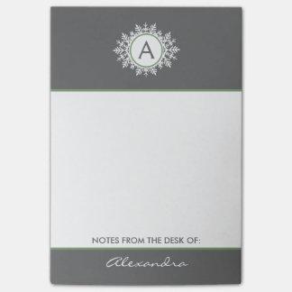 華美で白いセージグリーンの雪片のモノグラムの灰色 ポストイット