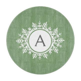 華美で白い雪片の円のモノグラムのセージグリーン カッティングボード