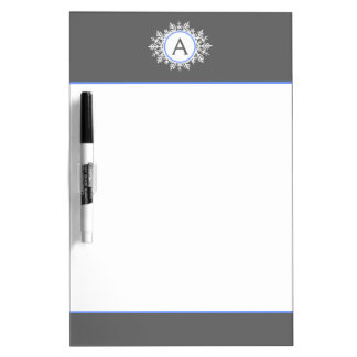 華美で白く明るく青い雪片のモノグラムの灰色 ホワイトボード