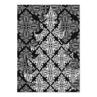 華美で贅沢なクリスマスツリーのダマスク織パターン カード