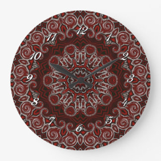 華美で赤いボヘミアの曼荼羅の柱時計 ラージ壁時計