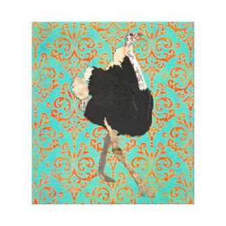 華美なだちょうのダマスク織のキャンバスの芸術 キャンバスプリント