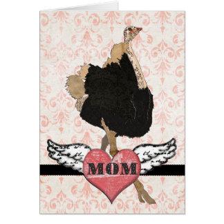 華美なだちょうのピンクのダマスク織の母の日カード カード