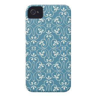 華美なダマスク織の装飾的なデニムの青のiphone 4ケース Case-Mate iPhone 4 ケース