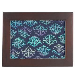 華美なパターン-紫色及び緑の孔雀のダマスク織 ジュエリーボックス