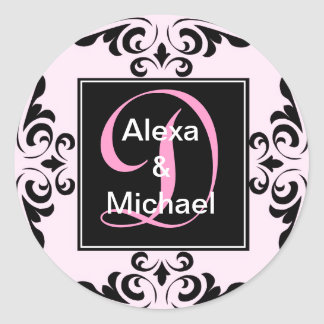華美なモノグラムの手紙Dのピンクのバラのステッカー ラウンドシール