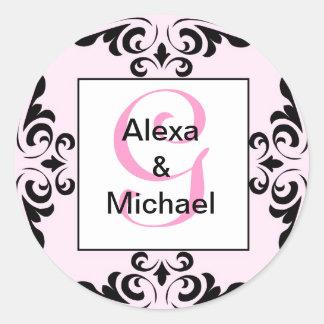 華美なモノグラムの手紙Gのピンクのバラのステッカー ラウンドシール
