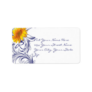 Ornate Royal Blue and Yellow Sunflowers Monogram