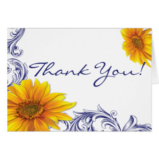 Ornate Royal Blue Yellow Sunflowers Thank You Card