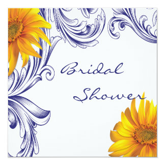 Ornate Royal Blue Yellow Sunflowers Bridal Shower