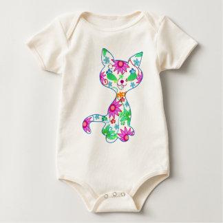 華美な子ネコの絵 ベビーボディスーツ