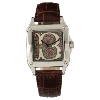 華美な手紙BのモノグラムのCrocの革腕時計 腕時計