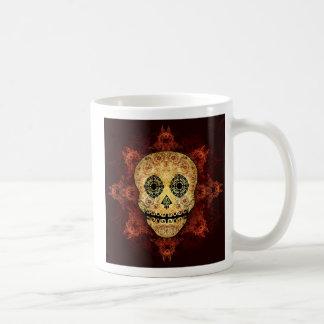華美な炎の砂糖のスカル コーヒーマグカップ