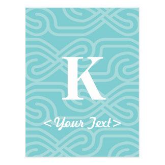 華美な結び糸細工のモノグラム-手紙K ポストカード