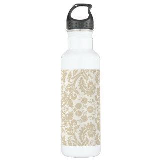 華美な花のアールヌーボーパターンベージュ色 ウォーターボトル