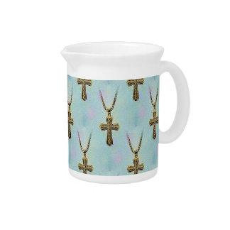 華美な金ゴールドの十字および鎖 ピッチャー