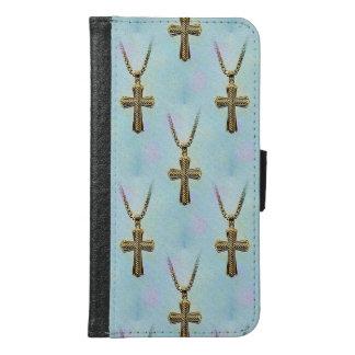 華美な金ゴールドの十字および鎖 GALAXY S6 ウォレットケース