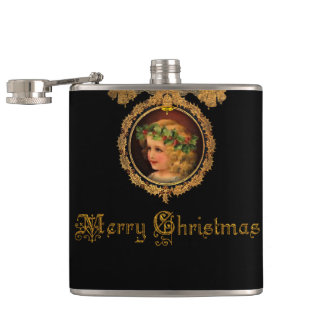 華美な金ゴールドフレームのヴィンテージのクリスマスの天使 フラスク